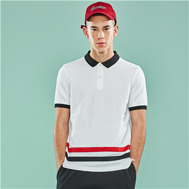 Contrast stretchy pique slim polo