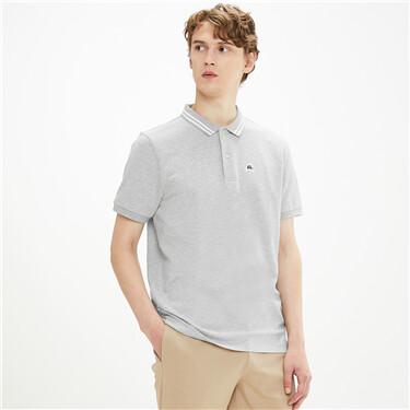 Stretchy pique short-sleeve polo shirt