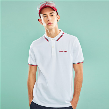Embroidered stretchy pique slim polo