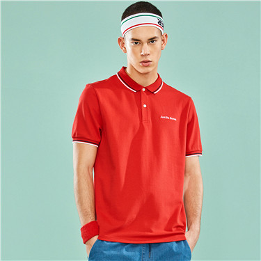 Embroidered stretchy pique polo