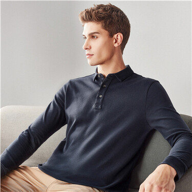 Thick solid long-sleeve polo shirt