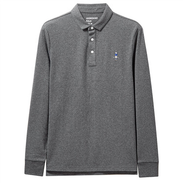 Embroidery cotton long-sleeve polo shirt