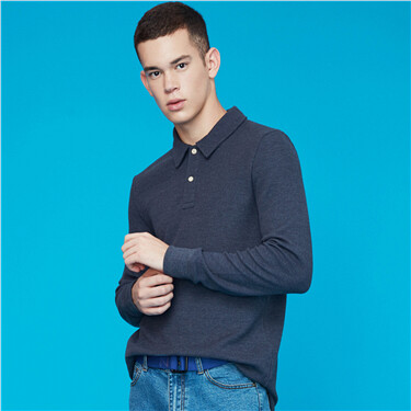 Thick solid waffle pattern long-sleeve polo shirt