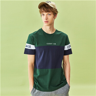 Contrast color patterns crewneck short-sleeve tee