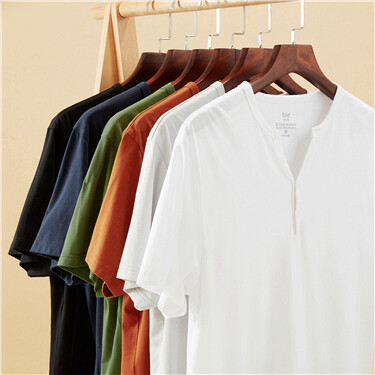 Solid henley-neck short-sleeve tee