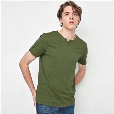 Henley-neck short-sleeve tee