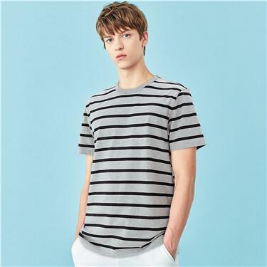 Stripe crewneck short-sleeve t