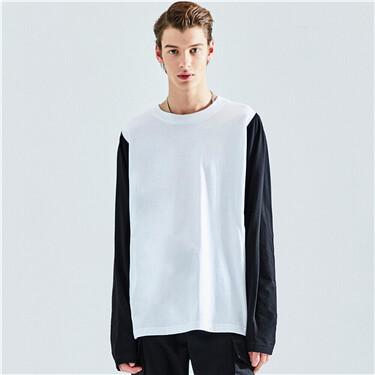 设计感小众纯棉拼色长袖T恤