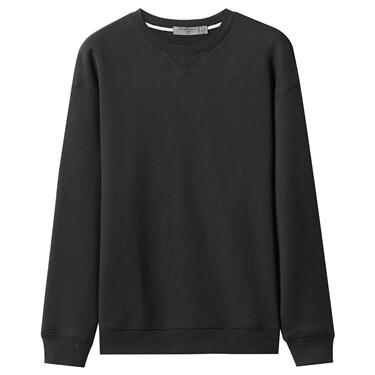 Solid thick fleece-lined sweatshirt