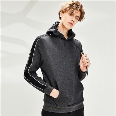 Contrast fleece-lined loose hoodie