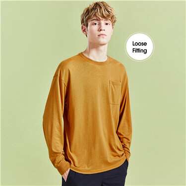 Patch pocket drop-shoulder tee