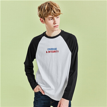 Raglan sleeves contrast embroidery tee
