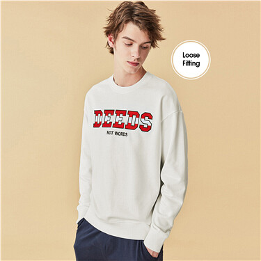 Embroidered letter crewneck sweatshirt