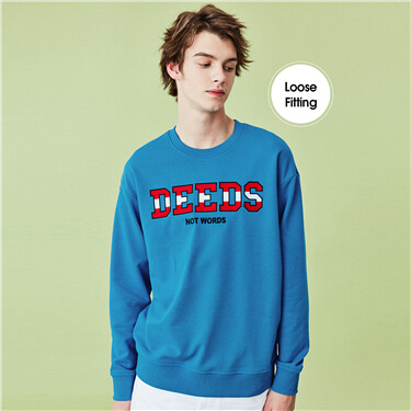 Embroidered letter crewneck sw