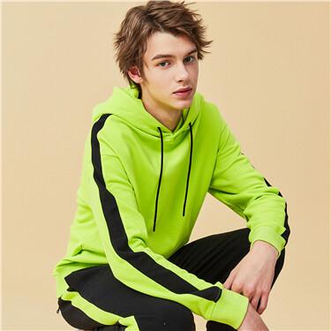 Fluorescent green contrast hoodie