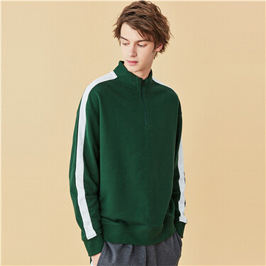 Drop-shoulder stand collar sweatshirt