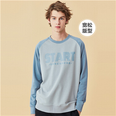 Drop-shoulder crewneck long-sleeve sweatshirt