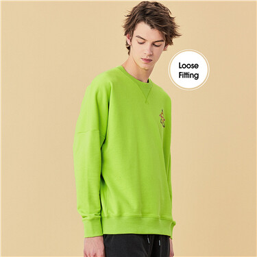 Printed Logo Drop Shoulder Crewneck Sweatshirt