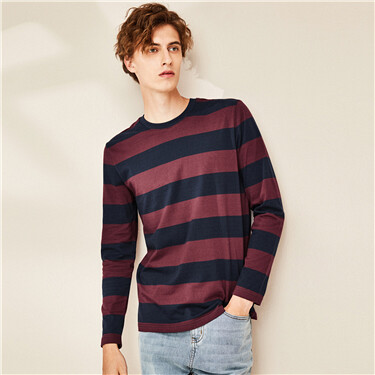 Cotton stripe crewneck t-shirt