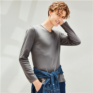 Thick cotton slim v-neck long-sleeve tee