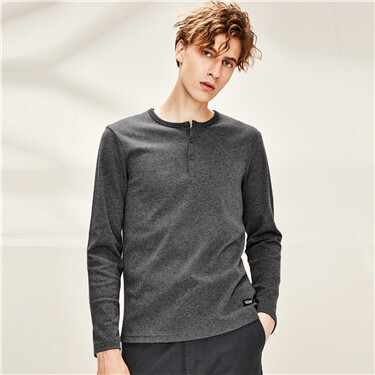 Thick cotton henley neck long-sleeve tee