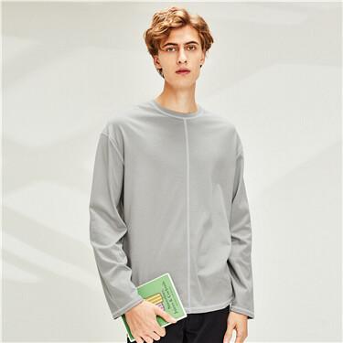 Cotton flat lock o-neck long-sleeve tee