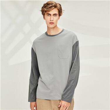 纯棉拼色口袋圆领长袖T恤