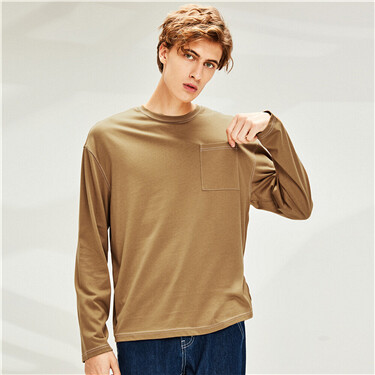 Contrast stitched pocket long-sleeve tee