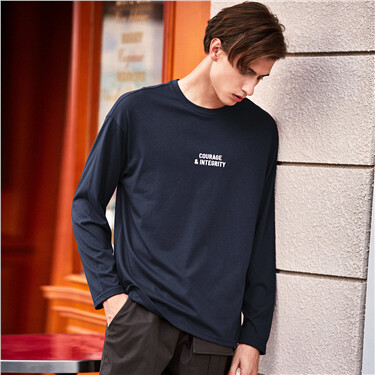 Embroidery Dropped-shoulder Loose Crew Neck Tee