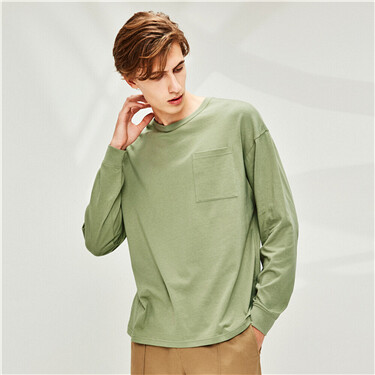 Patch pocket dropped-shoulder t-shirt