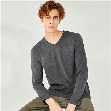 纯色纯棉V领长袖T恤