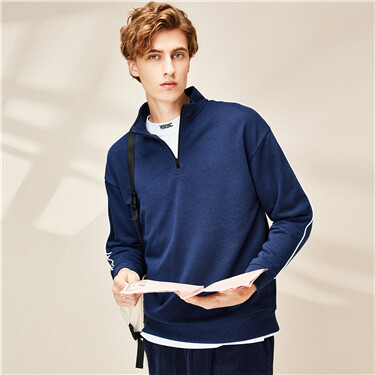 Contrast dropped-shoulder stand collar sweatshirt