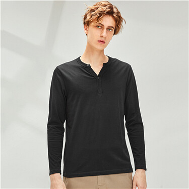 Solid design cotton henley neck long-sleeve tee