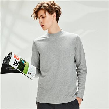 Thick cotton mockneck slim t-shirt