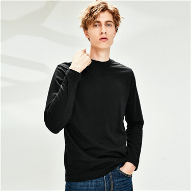 Thick cotton mockneck slim t-shirt