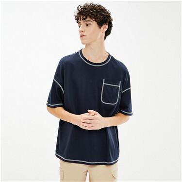 男裝寬鬆亮線口袋短袖T恤