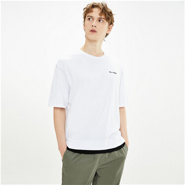 Fake 2-piece embroidery tee