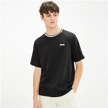 男裝刺繡牛角袖撞色邊短袖T恤