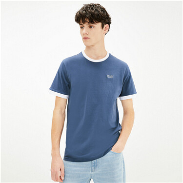 Contrast edge embroidered letter tee