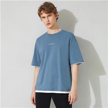 男裝雙面針織刺繡寬鬆短袖T恤
