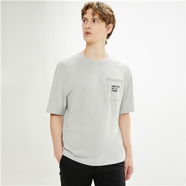 Embroidery pockets roundneck short-sleeve tee