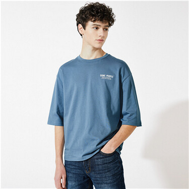Printed loose three-quarter sleeves tee