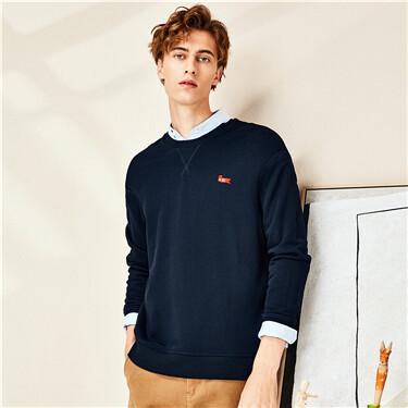 Embroidery interlock crewneck sweatshirt