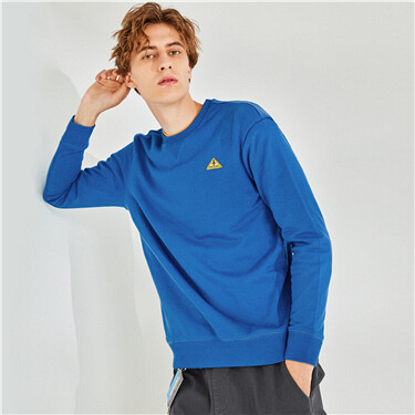 Embroidery interlock crewneck sweatshirt