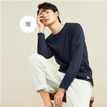 厚实纯棉磨毛圆领长袖T恤