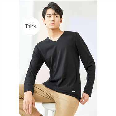 Thick sanded v-neck long-sleeve tee