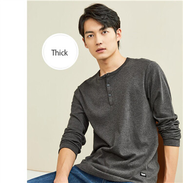 Thick sanded henley neck long-sleeve tee