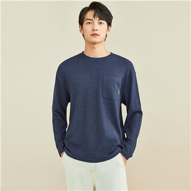 Thick Waffle patch pocket long-sleeve tee