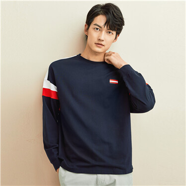 Embroidery contrast dropped-shoulder tee