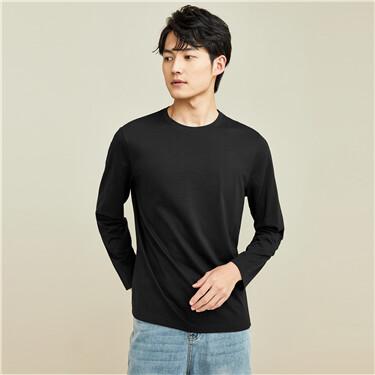【網上獨家】男裝純棉純色圓領長袖T恤
